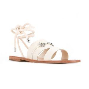 SENSO Cleo Ivory Leather Ankle Wrap Flat Sandals